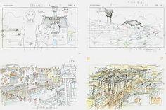 Film: Spirited Away (千と千尋の神隠し) ===== Layout Design - Scene: Exploring The Abandoned Theme Park ===== Hayao Miyazaki