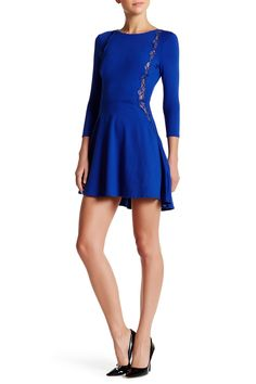 Fit & Flare Lace Trim Dress by David Lerner on @HauteLook