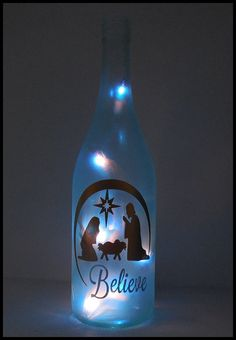 Lighted Bottle Nativity Christmas Scene Hand by LightedBottle Glass Bottle Crafts, Wine Bottle Art, Painted Wine Bottles, Painted Wine Glasses, Bottles And Jars, Glass Bottles, Nativity Crafts, Christmas Crafts, Christmas Nativity