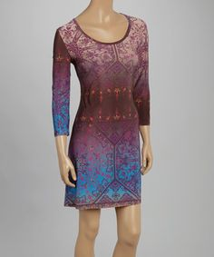 Love this Citi Life Burgundy & Blue Filigree Scoop Neck Tunic by Citi Life on #zulily! #zulilyfinds
