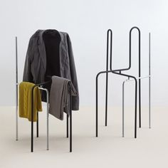 Designers Kevin Fries and Jakob Zumbühl created Error chair for Swiss furniture brand MOX. Error is made of bent steel tube frame and aimed at storing clothes. In flat position it has the silhouette of a chair and can be stored well. Pulled apart and placed on a surface, Error is a practical and original storage for clothes.