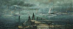 """Rafael Osona Auctions Nantucket MA - C. Robert Perrin Fine Art Acrylic on Board """"View From the Dock"""", signed lower left"""