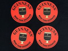 #guinness #breweriana #cjbeez 4 Guinness Stout Beer Coasters Vintage Bar Pub Man Cave