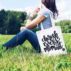 Cherish Every Moment Tote Bag Calligraphy Print Cherish Every Moment, In This Moment, Intuition, Pop Clothing, Calligraphy Print, Motivation, Hand Lettering, Great Gifts, Reusable Tote Bags