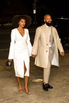 All The Outfits From Solange's Epic Wedding Weekend #refinery29  http://www.refinery29.com/2014/11/78102/solange-knowles-wedding-outfits#slide1  For the rehearsal dinner, Solange choose a bell-sleeved, Ellery number and golden Loeffler Randall heels