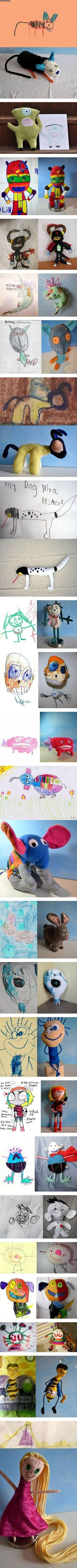"kids' drawings brought to life  ~  You know it's adorable when it makes your husband say, ""Aww...that's so cute!"""