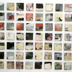 """Final hang of """"Collection"""" 63 x 15cm canvases, centrepiece of my stand at this years Brighton Artfair 24-27 Sept (sold separately or in multiples)"""
