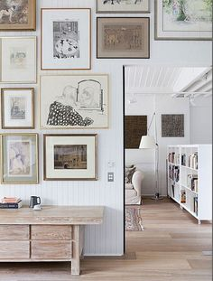 How to successfully create multiple gallery walls - I hope these tips work for a studio apartment... Love the idea of grouping different things together.