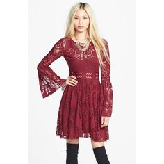 Women's Free People 'Lace Lovers Folk Song' Bell Sleeve Cutout Skater Dress