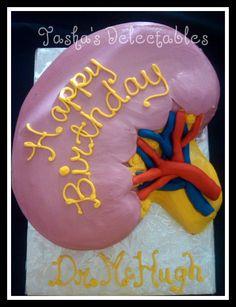 Kidney shaped cake for a urologist.