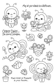 Bee stamp Clear Rubber Stamp for Scrapbooking Transparent Silicone Rubber DIY Photo Album Decor in Bees stamp Clear Stamp for Scrapbooking Tray - - Doodle Drawings, Doodle Art, Cute Drawings, Diy Album Photo, Diy Photo, Cute Coloring Pages, Adult Coloring Pages, Tampons Transparents, Shrink Art