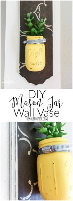 An easy upcycle project using thrift store art, mason jars and a little bit of creativity. http://thekolbcorner.com/diy-mason-jar-wall-vases/