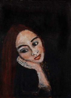 Acrylic Portrait Painting, Art, Girl, Dreamy, Head in Hand, Original Painting, Whimsical, Canvas, Face, Black, Wall Hanging, Wall Decor,
