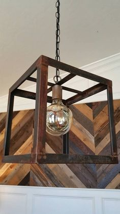 Items similar to Rustic Cube Steel Pendant on Etsy Retro Home Decor, Diy Home Decor, Diy Lampe, Rustic Lighting, Home Decor Accessories, Rustic Decor, Interior Decorating, Wall Decor, Lights