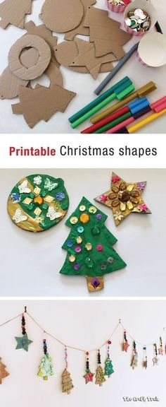 Printable Christmas shapes - perfect for creating kid-made Christmas ornaments from cardboard