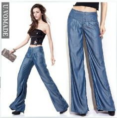 2013 tencel denim weites bein hose, lose gerade jeans, die Damen dünnschliff taille weites bein hose.
