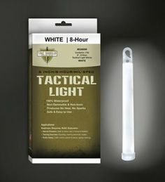 "6"" 8 Hour Light Stick, White, 10 Pack by Tac Shield. $13.99. All light sticks are 100% waterproof, non-flammable and non-toxic.. hang clip makes it easy to attach.. They produce no heat or sparks. Just bend the stick and shake for full brightness.. These 6 inch lights provide 8 hours of dependable use.. TACSHIELD Tactical Light Sticks are manufactured to exacting tolerances to ensure dependable bright lighting with an extended storage life.  The various colored light sticks..."
