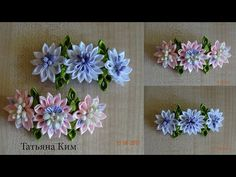 Заколка Канзаши/Лента 2,5 и 1,5 см/Kansasi's Hairpin/ 簪/ Tape 2,5 and 1,5 cm - YouTube Tissue Flowers, Cloth Flowers, Kanzashi Flowers, Ribbon Art, Ribbon Flower, Hair Brooch, Kanzashi Tutorial, Making Hair Bows, Bow Hair Clips