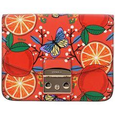 Furla Mini Bag Shoulder Bag Women ($355) ❤ liked on Polyvore featuring bags, handbags, shoulder bags, orange, furla handbags, orange leather purse, leather purses, red shoulder bag and shoulder handbags