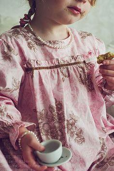 girl pink and brown dress