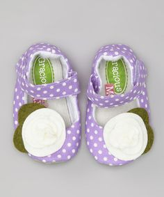Take a look at this Purple & White Grape Dots Mary Jane by Gracious May on #zulily today!