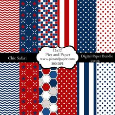 Digital scrapbooking for crafts, photographers, Patriotic, 4th of July, Memorial Day  12x12 USA. $4.00, via Etsy.