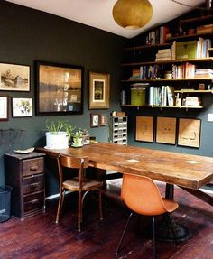 Towers Room – Wall color is 'Deep River' by BM, – Chic Home Office Design Dark Green Walls, Dark Walls, Grey Walls, Home Office Organization, Office Decor, Organizing Ideas, Office Ideas, Cozy Office, Corner Office