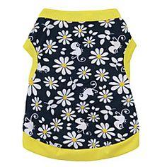 Gatos+/+Perros+Camiseta+Amarillo+Ropa+para+Perro+Verano+Flores+/+Botánica+Moda+–+USD+$+10.99