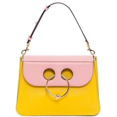 YELLOW/BUBBLEGUM MEDIUM PIERCE BAG ❤ liked on Polyvore featuring bags, handbags, yellow bag, circle purse, circle handbags, white purse and yellow handbags