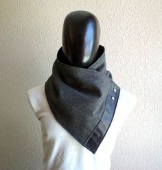 Men scarf. Men cowlWide Dark grey wool with faux by CheriDemeter, $32.50