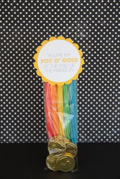 Pot of Gold - Rainbow licorice and chocolate coins (free printable tag included)