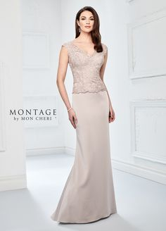 Montage by Mon Cheri 218915 is a stretch crepe fit and flare mother's wedding gown that has illusion lace cap sleeves, a V-neckline, an embroidered lace and hot stone bodice with an illusion lace keyhole back and a sweep train. Formal Dresses With Sleeves, Mob Dresses, Wedding Dresses, Wedding Attire, Elegant Dresses, Vestidos Mob, Montage By Mon Cheri, Trumpet Dress, Mother Of The Bride Gown