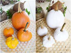 DIY pumpkin: from orange to white. Quick and easy self-made. Herbstdeko … - Decorations for Home Corn Stalks, Diy Pumpkin, Fall Wedding, Greenery, Fall Decor, Most Beautiful, Sweet Home, Orange, Creative