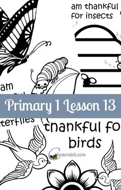 Great lesson helps and handouts for Primary 1 Lesson 13: I am thankful for birds and insects