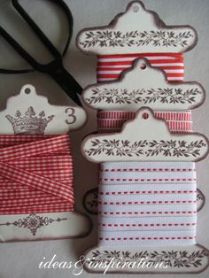 I think I can make these to store my short ribbon pieces; just cut out heavy card stock, stamp, and distress edges. Note: No directions behind link
