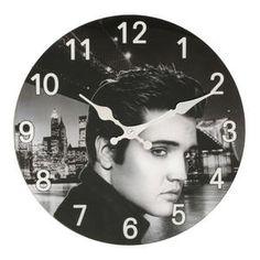 30cm Glass Hometime Wall Clock Elvis Presley Design