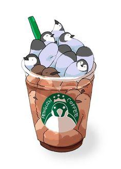 Coffee ~ penguins, my two favorite things♡ Pinguin Drawing, Cat Drawing, Chibi Kawaii, Kawaii Art, Cute Kawaii Drawings, Cute Animal Drawings, Cute Food Art, Cute Art, Kawaii Wallpaper