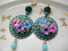 Springtime Bloom of Purple, Pink & Blue - Polymer Clay Dangling Earrings - Etsy seller flowersy