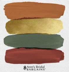 Wedding color palette - The Perfect Wedding Color Palette Copper, Gold, Pine and Brick Fall wedding colors Orange and green wedding colors Orange and gold wedding Copper wedding colors Brick wedding colors Pine weddin Fall Color Palette, Colour Pallete, Colour Schemes, Gold Palette, Gold Color Scheme, Gold Colour, Copper Color, Decorating Color Schemes, Copper Colour Palette