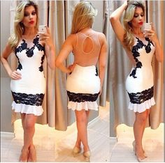 Find More Dresses Information about Women Summer Dress 2015 New Arrival Vestidos Sexy Black And White Stitching Lace Dress Vestidos De Verano ,High Quality dress love,China dress up time prom dresses Suppliers, Cheap dress dragon from China beautiful story on Aliexpress.com