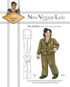 1940s Fabrics and Colors in Fashion The Deidra 1940s WWII slacks and jacket set  NVL plus size multi size repro vintage sewing patterns $30.00 AT vintagedancer.com