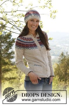 "Free pattern: Knitted DROPS jacket with round yoke, pockets and Norwegian pattern in ""Alpaca"". Size XS – XXXL"