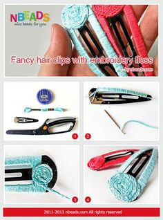 Fancy Hair Clips with Embroidery Floss – Nbeads