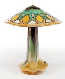 A Fulper Pottery Vasekraft Table Lamp And Shade. Fulper Pottery Company, Flemington, New Jersey, circa 1911-1918