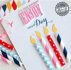 Paper straw birthday candle card made using the Make It Market County Fair kit from Papertrey Ink