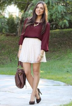 love the maroon with a white flowy skirt