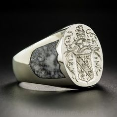 Gent's 18K White Gold Coat of Arms Signet Ring by Rampant Lion