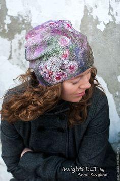 Купить Лавандовая нуно-войлочная шапочка-трансформер. - сиреневый, цветочный, лаванда, лавандовый, прованс, lavander