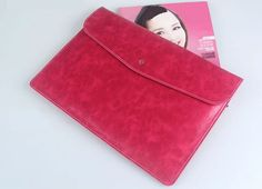 Cool Brown Pink Leather Bags Cases For 12 Inch Macbook MB1202_12