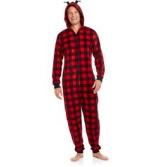 Holiday Family Pajamas Buffalo Plaid Onesies Sleepwear Union Suits with Antlers, Size: Men's M, Red